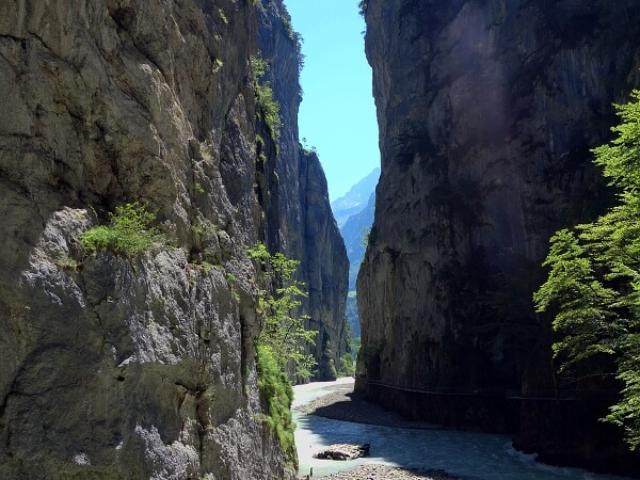 Strome ściany wąwozu rzeki Aare