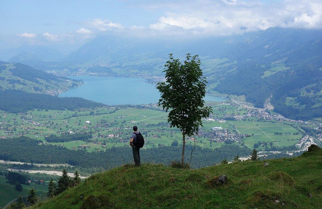 Panorama z gór na jezioro