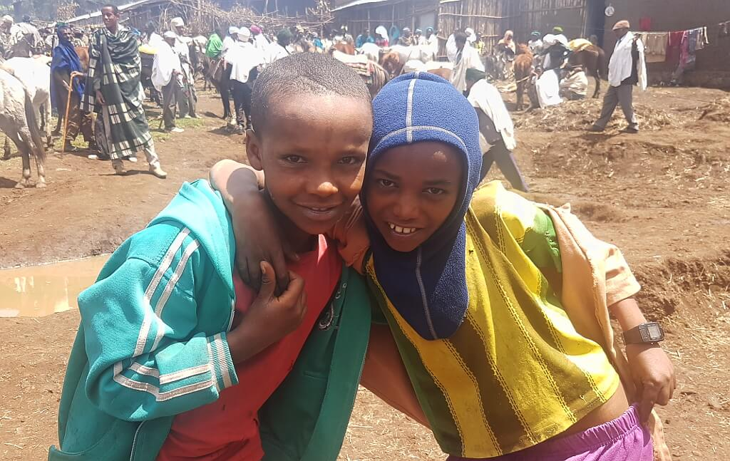 Uśmiechnięte Etiopskie dzieci