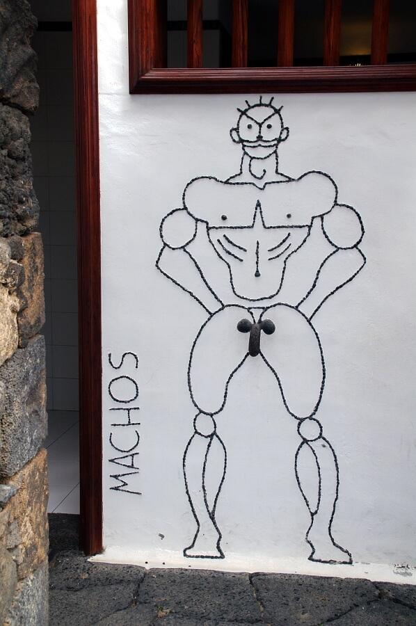 Lanzarote, osobliwe oznaczenie wc w Parku Kaktusów
