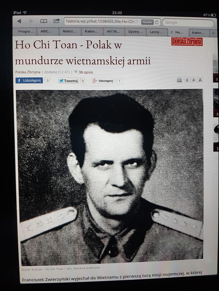 portret Polaka w mundurze wietnamskiej armii. wycinek z gazety